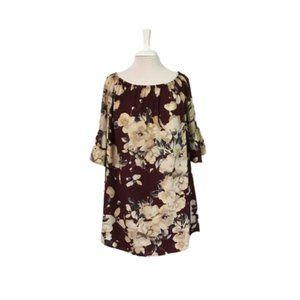 Cherish Off Shoulder Floral Top Bell Sleeves Large